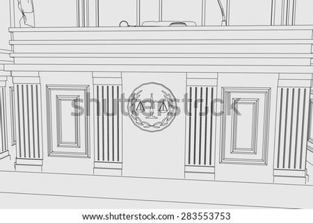 cartoon image of court room - stock photo