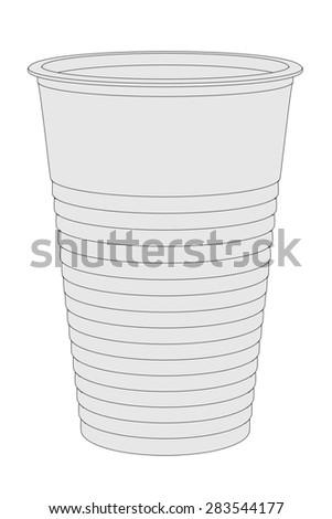 cartoon image of plastic cup - stock photo