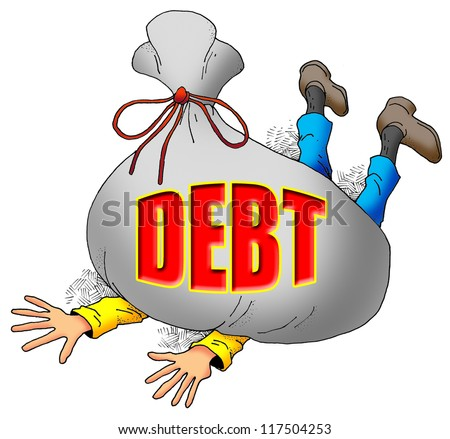 Cartoon Image of Someone Being Weighed Down by Too Much Debt. - stock photo