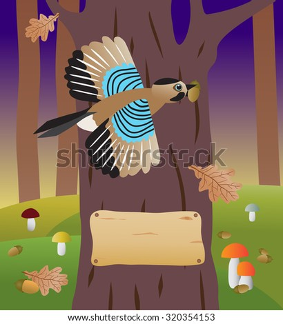 Cartoon jay flying with an acorn in its beak.forest, tree, foliage, leaf  - stock photo
