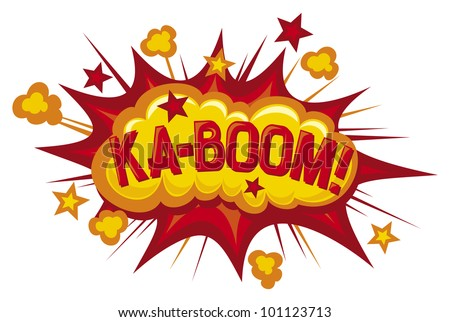 cartoon - ka-boom (comic book element) - stock photo
