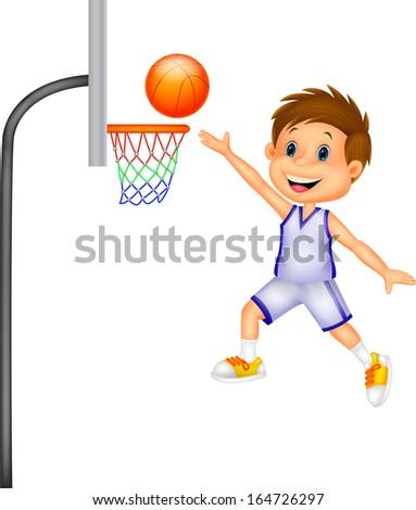 Cartoon kid playing basket ball - stock photo