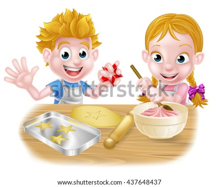 Cartoon kids baking and cooking as chefs in the kitchen