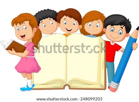 Books Cartoon Photos Cartoon Kids With Book And