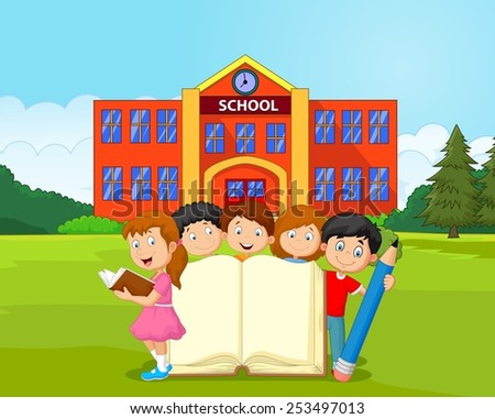 Cartoon kids with book and pencil - stock photo