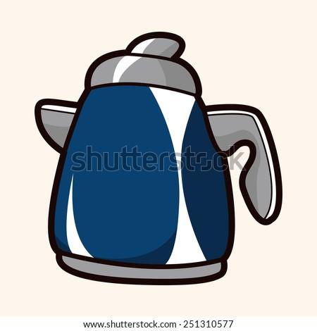 cartoon kitchenware tea pot   - stock photo