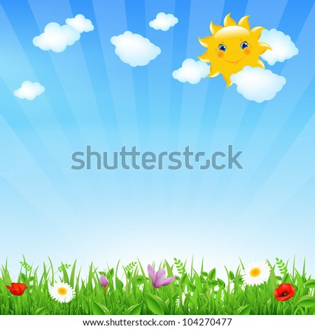 Cartoon Landscape With Sun And Clouds - stock photo