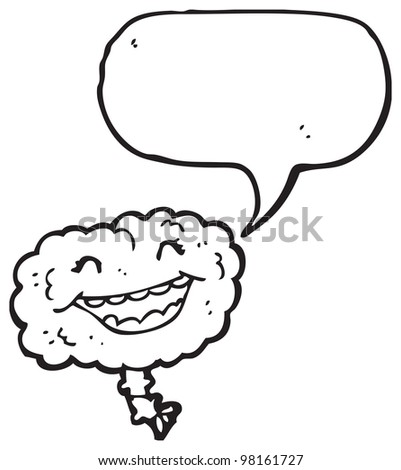 cartoon laughing brain - stock photo