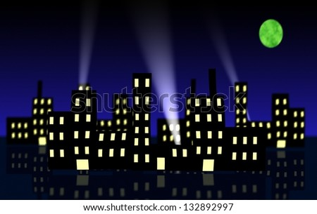Cartoon like Illustration of Cityscape at night with search lights - stock photo