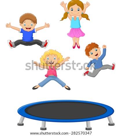 Cartoon little kid playing trampoline - stock photo