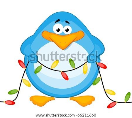 cartoon little penguin with garland - stock photo