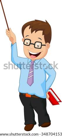 Cartoon male teacher presentation - stock photo