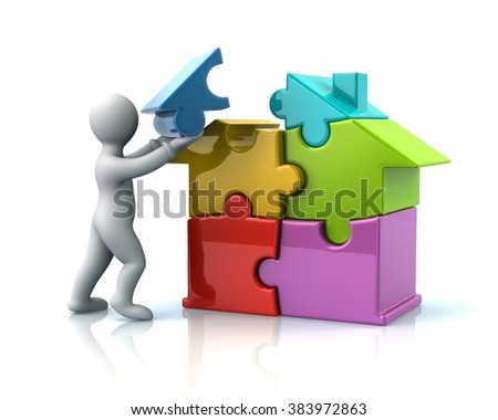 Cartoon man builds a colorful puzzle house isolated on white background - stock photo