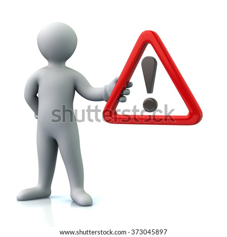 ... holding warning attention sign with exclamation mark - stock photo: http://shutterstock.com/s/interjection/search.html