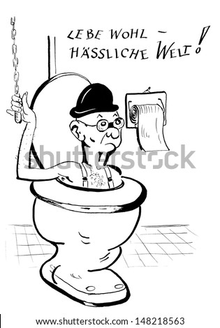cartoon, man flushed down the loo, line drawing - stock photo