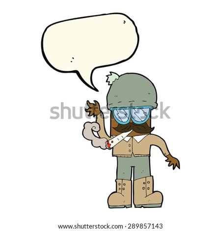 cartoon man smoking pot with speech bubble - stock photo