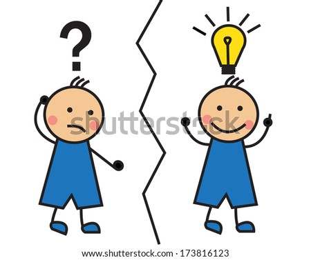 Cartoon man with a question mark and a light bulb over his head - stock photo
