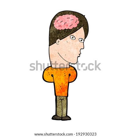 cartoon man with big brain - stock photo