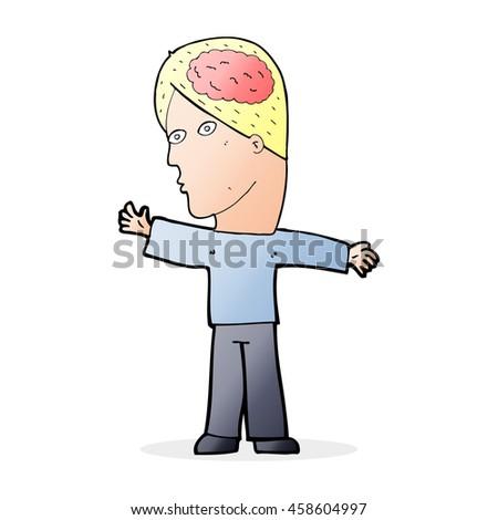 cartoon man with brain - stock photo
