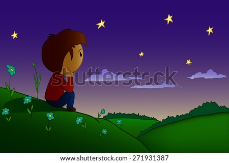 Cartoon men sitting rested in night field and hills with sunrise over forest - stock photo