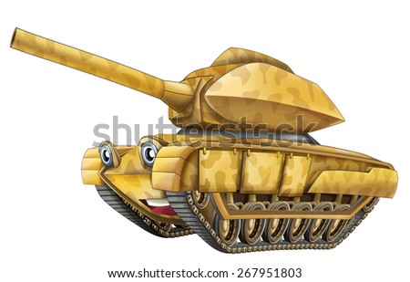 Cartoon military tank - caricature - illustration for the children - stock photo