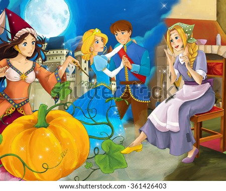 Cartoon mixed scene with poor girl and princess sorceress and with royal pair - illustration for the children - stock photo