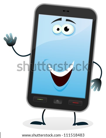 Cartoon Mobile Phone Character/ Illustration of a cartoon happy mobile phone character doing welcoming sign - stock photo