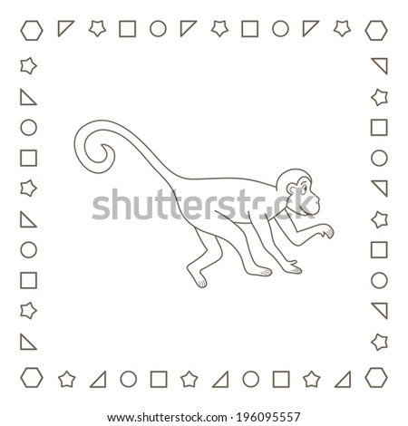 Cartoon monkey. Cute marmoset. Coloring page. Coloring book. - stock photo