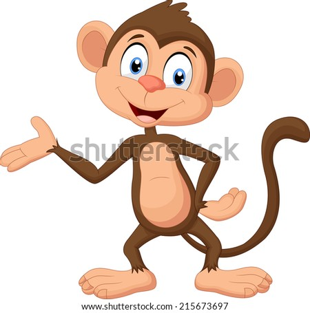 Cartoon monkey presenting - stock photo