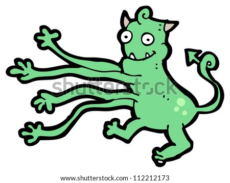 cartoon monster with long arms - stock photo