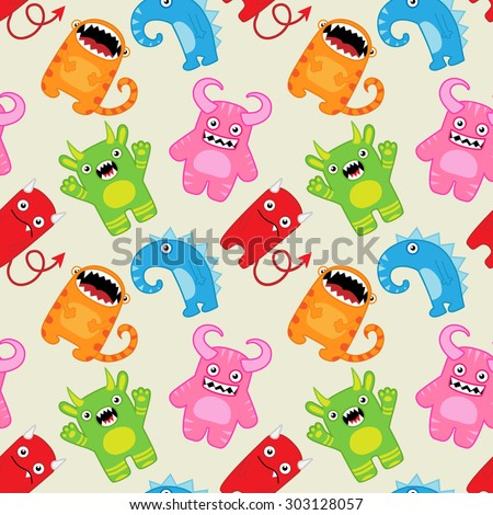 Cartoon monsters seamless pattern. Raster version - stock photo