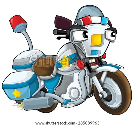 Cartoon motorcycle - caricature - illustration for the children - stock photo
