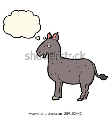 cartoon mule with thought bubble - stock photo
