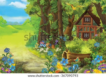 Cartoon nature scene with old house in the forest - illustration for the children - stock photo