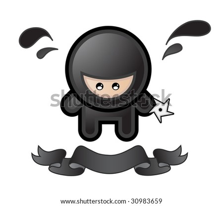 cartoon ninja on white background - stock photo