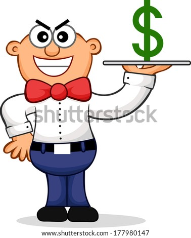 Cartoon of a sneaky waiter representing an expensive restaurant. - stock photo