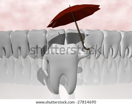 cartoon of a tooth protecting himself with an umbrella - stock photo