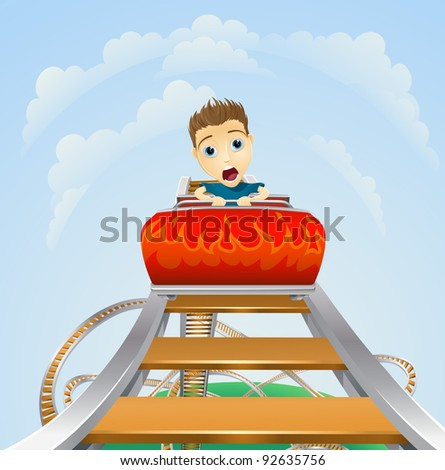 Cartoon of a young boy or man looking terrified on a roller coaster ride - stock photo