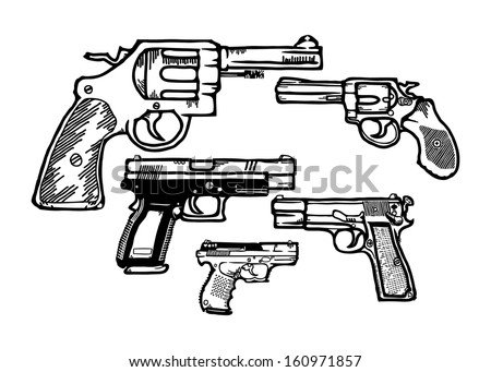 Cartoon of an assortment of small armed pistol and handguns, isolated against white. - stock photo