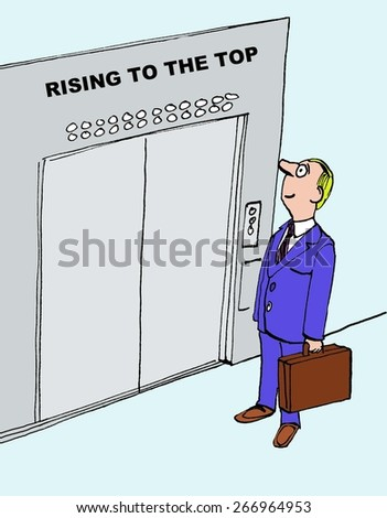 Cartoon of businessman climbing the corporate ladder, he is rising to the top. - stock photo