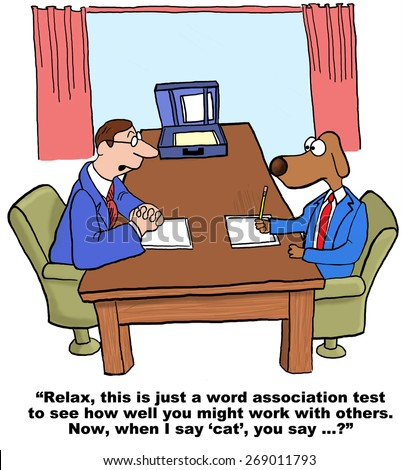 Cartoon of businessman dog in job hiring interview.  He is taking a personality test to see how well he gets along with others, 'when I say cat you say...'. - stock photo