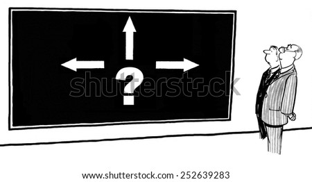 Cartoon of businessmen faced with complex decision. - stock photo