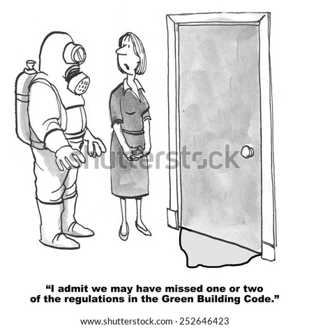 Cartoon of businesswoman says to Hazardous Waste man that the company may have missed a few green regulations. - stock photo