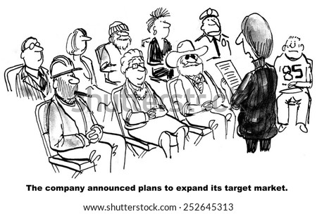 Cartoon of company that wants to expand its target market to include everyone. - stock photo