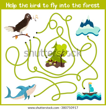 Cartoon of Education will continue the logical way home of colourful animals. Help the bird Nightingale to get home in the wild forest. Matching Game for Preschool Children.  illustration - stock photo