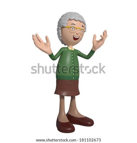 Cartoon of elderly lady in green cardigan happily explaining something - stock photo