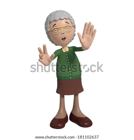 Cartoon of elderly lady in green cardigan indicating to stop and wait - stock photo