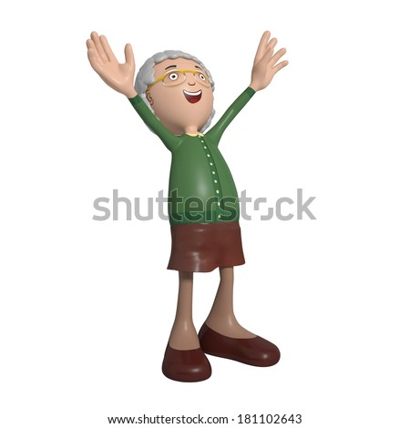 Cartoon of elderly lady in green cardigan throwing hands in the air filled with joy - stock photo