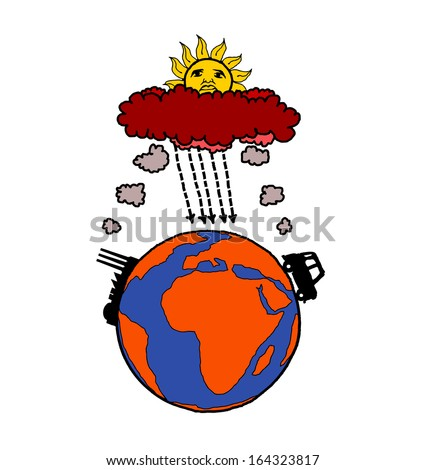 Cartoon of industrialization and motor vehicle causing global warming by polluting planet earth. - stock photo