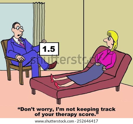 Cartoon of therapist telling woman patient he would never give her a therapy score, yet he is doing just that. - stock photo